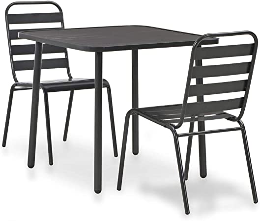 vidaXL Conjunto Muebles Jardín Set Mesa Cuadrada 2 Sillas Apilables Acero Gris: Amazon.es: Hogar