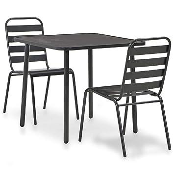 Festnight - Juego de 3 sillas apilables de acero con revestimiento ...