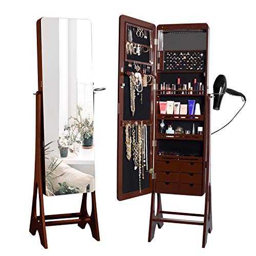 JAHRSTIM Jewelry Cabinet Denise Brown Armoire 15 LEDs Full-Length Mirrored Standing Storage Organizer with Hairdryer Holder