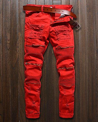 Biker Strappati Zipper Jeans Pantaloni Slim Fit Rosso Uomo Denim FZUxqrF