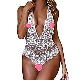 Jeramery Sexy Linegrie for Women for Sex, Women's Lingerie V-Neck Halter Backless Lace Bodysuit Underwear Sleepwear White