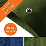 Tarps Heavy Duty Waterproof   Ground Tent Trailer Cover   Large Tarpaulin in Multiple Sizes   10 oz/Sq Yd   Green - 12' x 14'