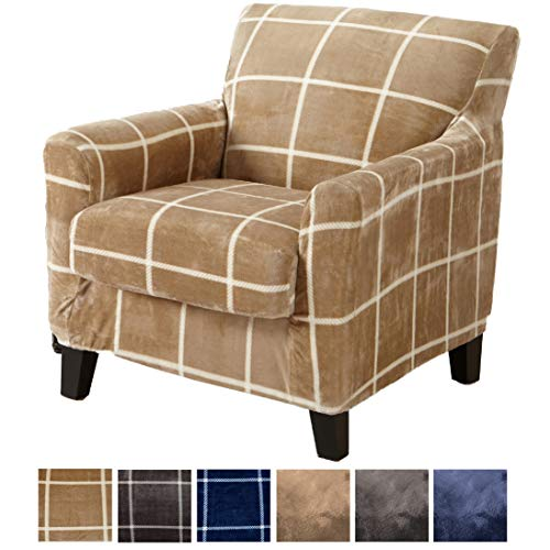 Great Bay Home 2 Piece Modern Velvet Plush Strapless Slipcover. Stretch Furniture Cover. Sorrento Collection (Chair, Warm