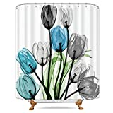 Blue and Grey Shower Curtain Riyidecor Teal Tulip Blue Grey Flower Shower Curtain Floral Turquoise Watercolor Panting Decor Bathroom Fabric Set Polyester Waterproof 72x72 Inch 12-Pack Plastic Hooks