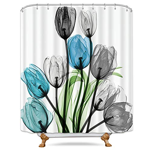 Riyidecor Teal Tulip Flower Shower Curtain Floral Turquoise Watercolor Panting Decor Bathroom Fabric Set Polyester Waterproof 72x96 Inch 12 Pack Plastic Hooks