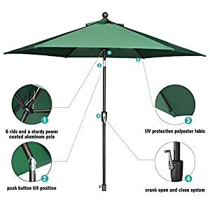 LCH 9 Ft 6 Ribs Patio Umbrella Outdoor Backyard Market Table Umbrella Sturdy Pole Push Button Easily Tilt Crank, Dark Green