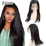 Cheap Elisheva 360 Lace Frontal Wig 150% Density Natual Straight Brazilian Remy Human Hair Lace Wigs with Baby Hair for Women 16inch Natural Color