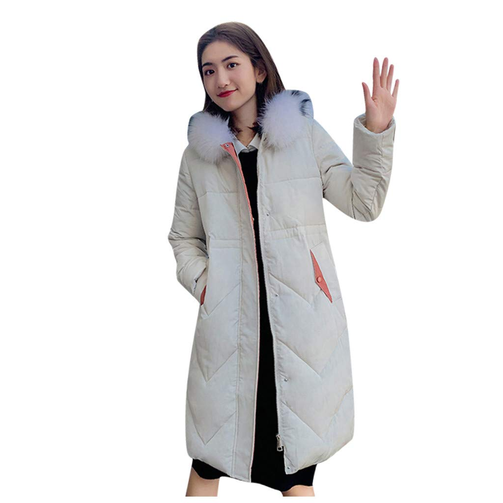 Allywit- Women Winter Warm Coat Parkas Overcoat Faux Fur Hooded Outwear Puffer Down Jacket White by Allywit- Women
