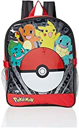 Pokemon Boys\' Pocket 15 inch Backpack with Lunch Kit, Red