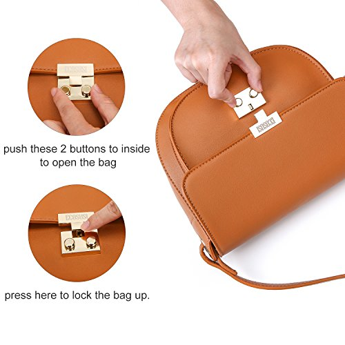 ECOSUSI Women Crossbody Saddle Bags Shoulder Purse with Flap Top & Phone Pocket, Brown by ECOSUSI (Image #5)
