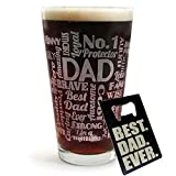 DAD Gift Pub Glass with BEST DAD EVER Wallet Bottle Opener Card - Funny Father's Day, Birthday or Christmas Gift Idea For Best Dad Ever (16-Oz-Glass+Beer-Opener)
