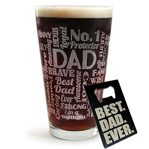 DAD Gift Pub Glass with BEST DAD EVER Wallet Bottle Opener Card – Funny Father's Day, Birthday or Christmas Gift Idea For Best Dad Ever (16-Oz-Glass+Beer-Opener)
