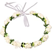 LuLyL Corona de Hadas con Flores y Cinta Ajustable para niñas Blanco