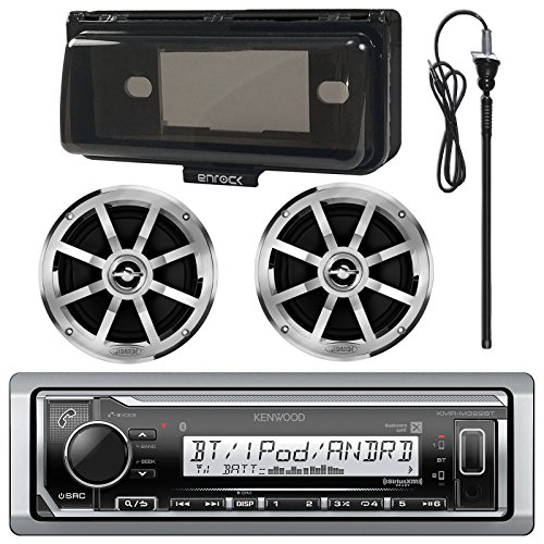 Kenwood KMR-M315BT MP3/USB/AUX Bluetooth Marine Boat Yacht Stereo Receiver Bundle Combo With 2 x Jensen MSX60CPR 6.5