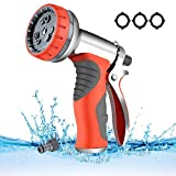 LUFENG 【 2019 UPGRADE Hose Spray Gun 9 Adjustable Patterns Hose Nozzle Heavy Duty Metal High Pressure Hose Gun, Perfect for Garden, Watering Lawn, Car Washing, Cleaning, Pets Wash