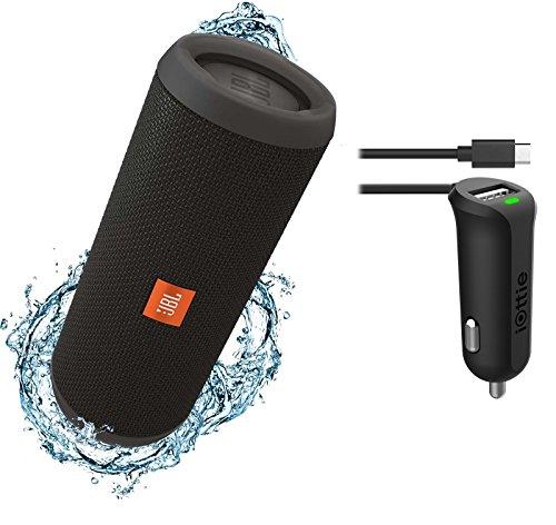 JBL Flip 3 Splashproof Portable Bluetooth Speaker & Car Charger Bundle (Black)