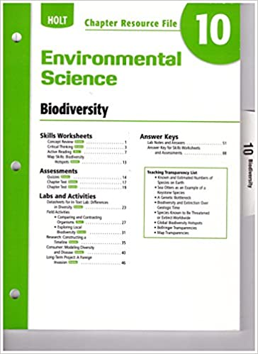 Workbook biodiversity worksheets : Amazon.com: Holt Environmental Science: Chapter Resource File ...