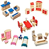 Giraffe 5 Set Colorful Wooden Doll House Furniture, Wood Miniature Bathroom/ Living Room/ Dining Room/ Bedroom/ Kitchen House Furniture Dollhouse Doll Decoration Accessories Pretend Play Kids Toy
