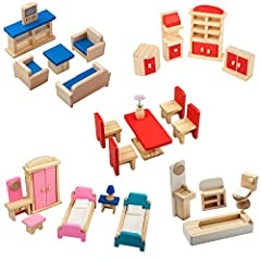 Giraffe 5 set wooden colorful dollhouse furniture, this toy set all are WOOD not PLASTIC ,Includes furniture that's perfect for a bathroom, bedroom, kitchen, living room, and Dining room. Our products are top quality and are backed up with ou...