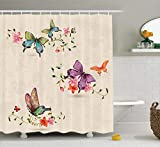 Nyngei Butterfly Shower Curtain Butterfly Pattern on Vintage Style Background Ancient Wings Moth Transformation Cloth Fabric Bathroom Decor Set with Hooks 70.8x70.8in Long Cream Pink