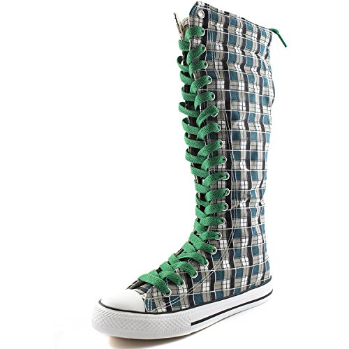 DailyShoes Boots Wht Green Tall Sneaker Punk Calf Mid Boots Lace Blue Casual Flat Plaid Canvas Leaf Womens rPqwxCZr