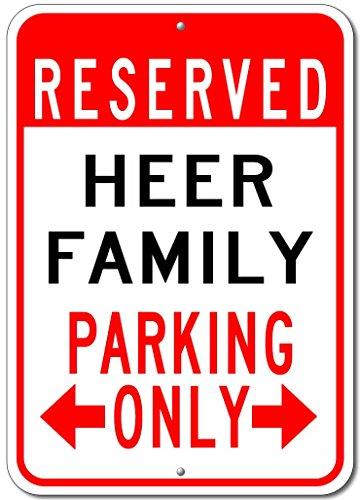 HEER FAMILY Parking Sign - Custom HEER Family Last Name Aluminum Sign - - Heeren The