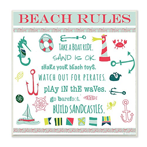 The Stupell Home Decor Collection Beach Rules Typography and Icons Wall Plaque (A Word That Starts With J)