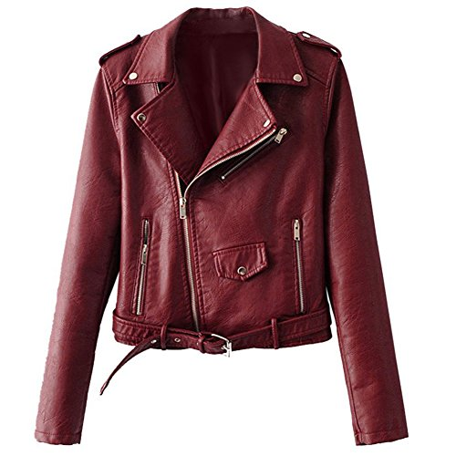 Chenghe Women's Faux Leather Motorcycle Zip Up Short Bomber Jacket Red XL (Red Motorcycle Jacket Women)