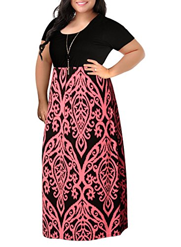Nemidor Women's Chevron Print Summer Short Sleeve Plus Size Casual Maxi Dress(16W,Pink) (Chevron Dress Pink)