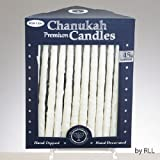 Frosted White on White Premium Chanukah Candles