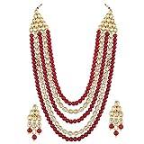 Shining Diva Fashion Stylish Fancy Wedding Party Wear Kundan Necklace Set / Jewellery Set with Earrings for Women & Girls (Red)