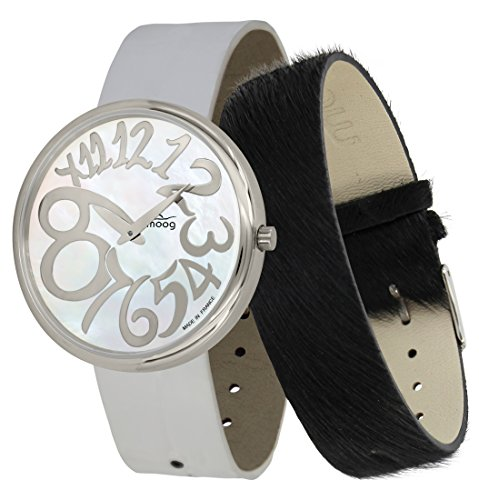 Moog Paris Ronde Art-Deco Women's Watch with White Mother of Pearl Dial, White Strap in Genuine Leather - M41672-F12 ()