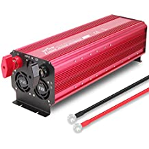 UFire 5000W Power Inverter DC 12V To 110V AC Car Converter With Dual AC Outlets 2A USB Port Car Adapter -Red