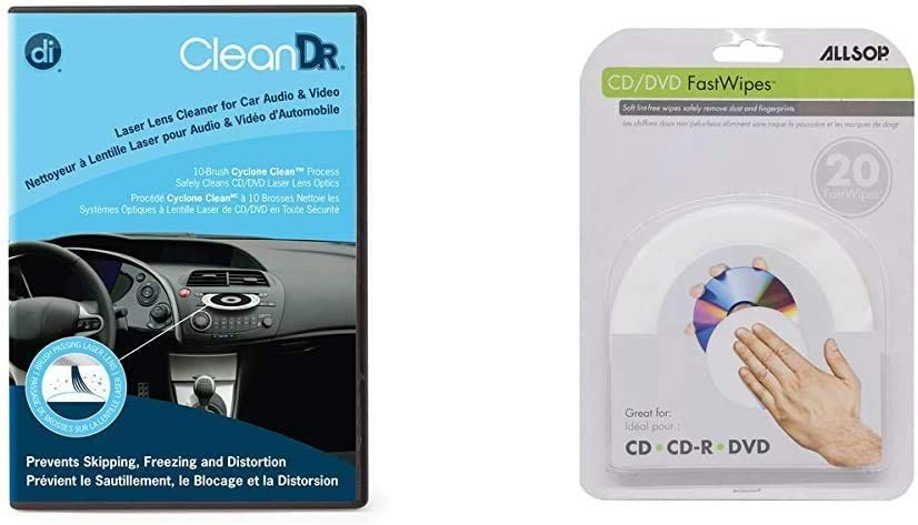 Digital Innovations CleanDr for Car Audio & Video Laser Lens Cleaner 4190500 & CD and DVD FastWipes, lint-Free Wipes for Cleaning DVD, CD, PS1, PS2, Xbox & Xbox 360 Discs