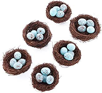 Factory Direct Craft Group of 6 Natural Angel Vine 3 Inch Bird Nests with 1 Inch Miniature Speckled Eggs Inside for Wedding Favors, Party Favors or Baby Showers