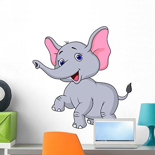 Wallmonkeys Elephant Cartoon Dancing Wall Decal Peel and Stick Graphic (24 in H x 23 in W) WM257455