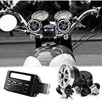 Wiipro Motorcycle Speakers and Amplifier Sound System 1.5 Bluetooth Handlebar Audio MP3 FM Radio for ATVs Scooters Touring Bikes Harley Cruiser Biker Chopper