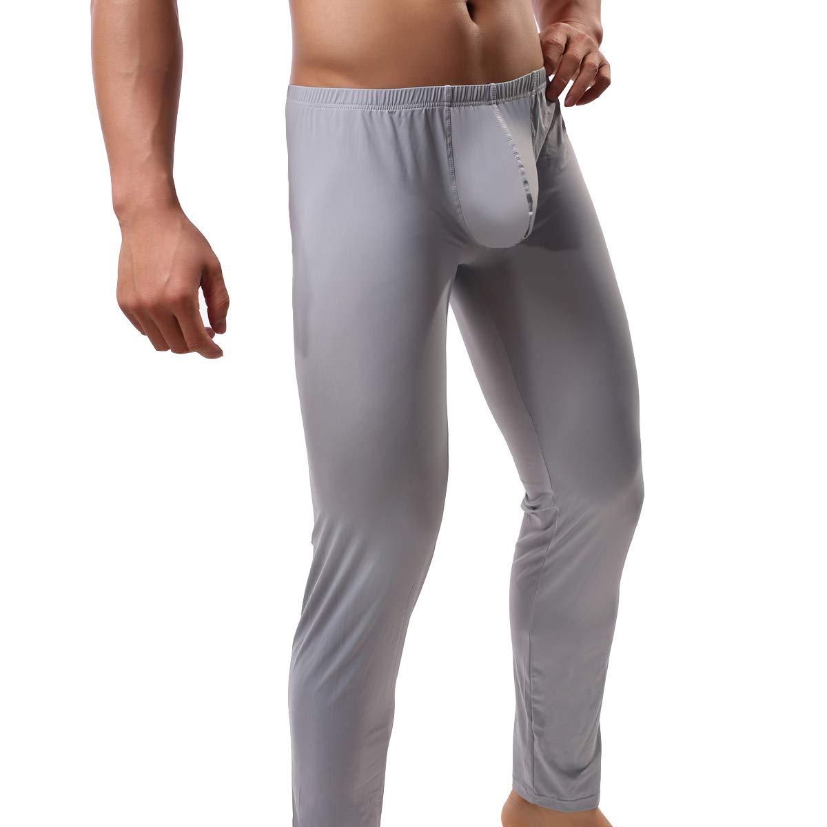 QiaTi Men's Tight Long Underwear Sexy Long Pants Sexy Tight Underwear Soft Compression Underwear for Men Long Leggings Pants (Large(fits Like US Medium), New Grey) by QiaTi