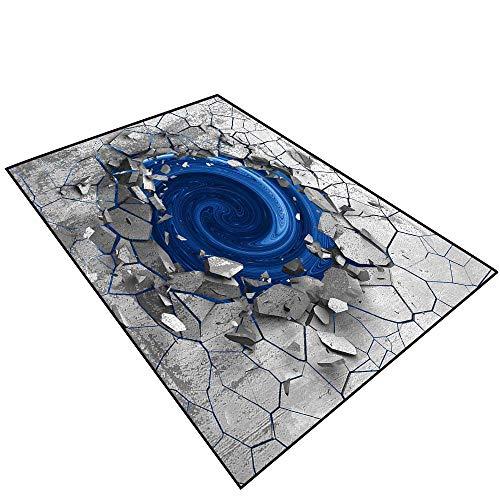 3D Area Rug Non-Slip Doormat Carpet 3D Effect of The Trap Vortex.Dark Cracked Broken Hole in Concrete Wall.051 (3) Carpet. Non-Slip ()