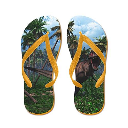 Cafepress Tyrannosaurus 3 - Flip Flops, Roliga Rem Sandaler, Strand Sandaler Apelsin