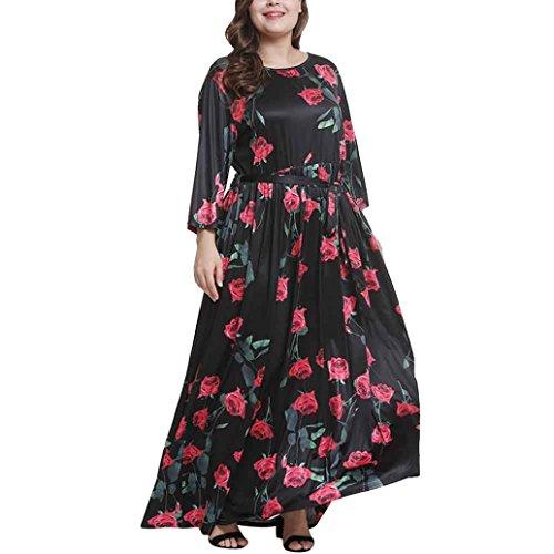Flurries Women Dress, Fashion Women Plus Size Fashion Floral Print Sexy Bow Dress Large Swing Boho Dress (3XL, Black) by Flurries
