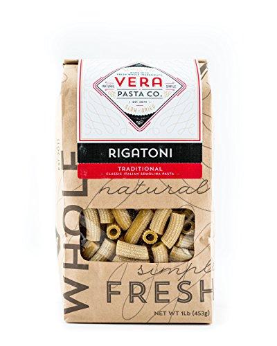 Vera Pasta Traditional Rigatoni Pasta - Gourmet Italian Pasta for Authentic Taste & Texture - Artisan, Fresh Pasta Made in the USA - All Natural, High-Protein Rigatoni Pasta - 1 Pound (Everyday Italian Gift Baskets Giada)