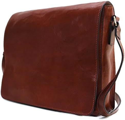 Floto Firenze Messenger Bag in Brown Full Grain Calfskin Leather - Large