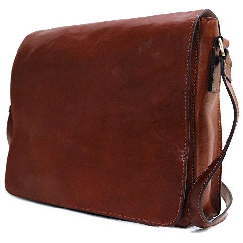Leather Large Calf (Floto Firenze Messenger Bag in Brown Full Grain Calfskin Leather - Large)