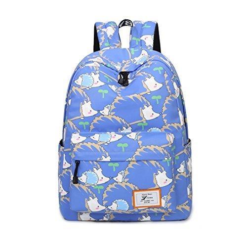 Joymoze Retro Colorful Print Trendy Backpack for women Cute Schoolbag for Girl (Girl Hedgehog)