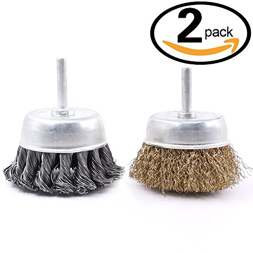 Swpeet 2 PCS 3 Inch Steel Knotted and Brass Plated Crimped Cup Wire Wheels Brush Set, Perfect For Removal of Rust / Corrosion / Paint - Reduced Wire Breakage and Longer Life