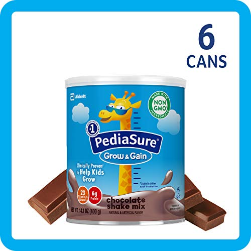(PediaSure Grow & Gain Non-GMO Shake Mix Powder, Nutritional Shake For Kids, With Protein, DHA, Antioxidants, and Vitamins & Minerals, Chocolate, 14.1 oz, 6-Count)