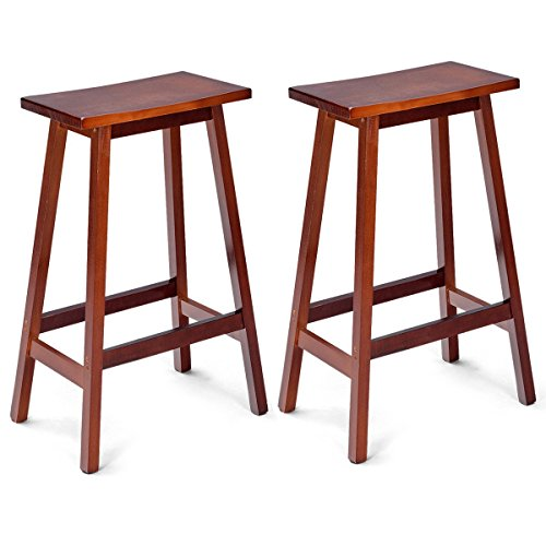 Bar Height Saddle Seat Stool - COSTWAY Saddle Seat Bar Stools Set of 2 Wood Vintage Counter Height Barstools Wood Bistro Dining Kitchen Pub Chairs (Walnut, 29