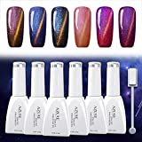 Cat Eyes Gel Magnetic Chameleon Gel Nail Polish Soak Off UV LED Nail Polish 6 Colors Set 12ML by AZUREBEAUTY