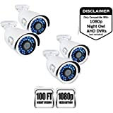 Night Owl Security, 4 Pack Add–On Analog HD 1080p HD Wired Security Bullet Cameras (White)